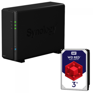 Nas Synology Ds118 1 Bay + 3TB Hard Disk Interno Wd Red